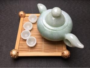 天然翡翠A货老坑茶具摆件
