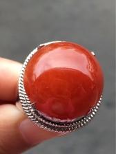 天然翡翠A货正品红翡戒指