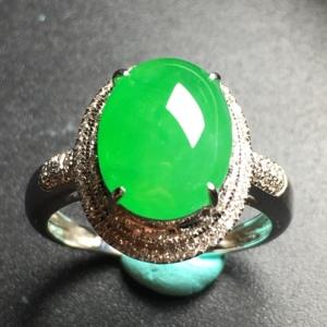 翡翠阳绿蛋面冰种戒指