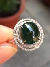 18K白金镶嵌钻石冰种蓝水翡翠戒指