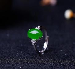 (和田碧玉·银镶戒指)新货上架女士戒指