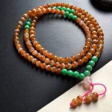 红翡佛珠项链