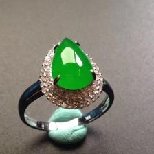 冰种阳绿满色翡翠水滴型戒指