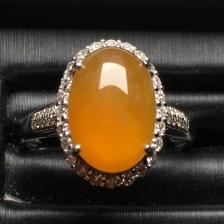 天然翡翠黄翡蛋面戒指