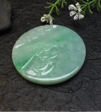 缅甸翡翠飘绿无事牌挂件