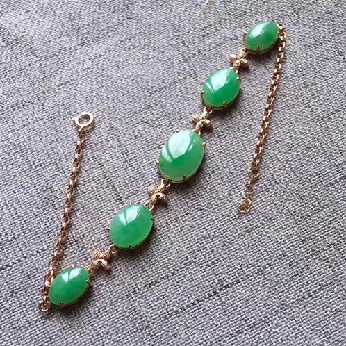 18k金镶嵌满绿翡翠蛋面手链