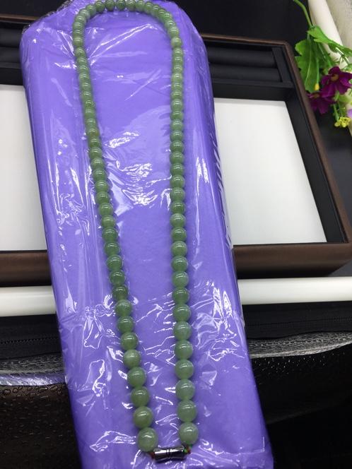 缅甸天然翡翠a货油青项链