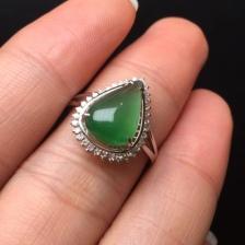 18K金钻石水滴形翡翠戒指