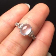 18K金钻石玻璃种翡翠戒指