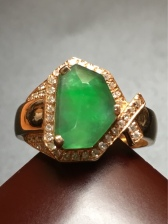 高质量老坑冰绿戒指 18k黄金加钻镶嵌