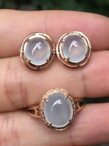 白冰蛋面耳钉+戒指套件