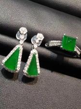 帝王绿翡翠戒指耳环套装