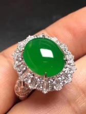 18K金天然帝王绿戒指