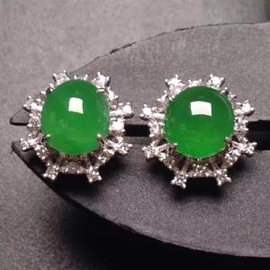 18k白金奢华钻石镶嵌冰种阳绿蛋面雪花耳钉
