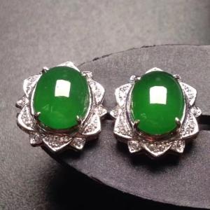 18k白金奢华钻石镶嵌冰种阳绿蛋面耳钉