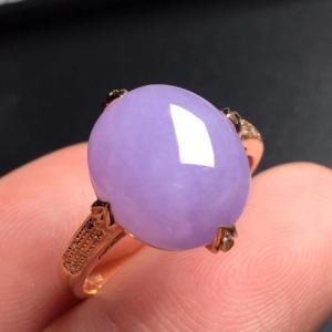 紫罗兰翡翠蛋面戒指