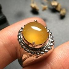 黄翡蛋面戒指