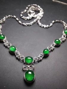 晚装项链正阳绿冰透冰绿18k白金奢华钻石镶嵌
