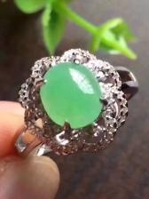 精品 天然翡翠豆绿戒指