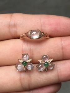 两件套 白冰蛋面耳钉+戒指