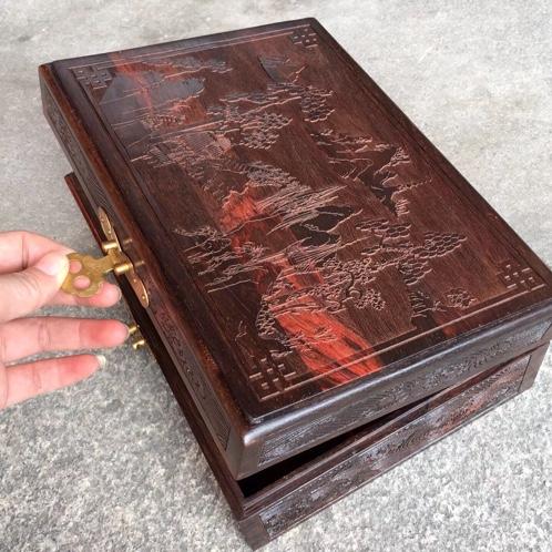 大红酸枝茶叶盒