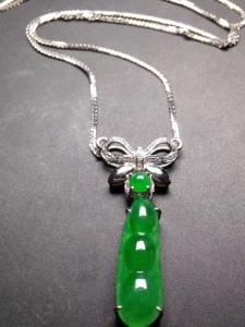 阳绿冰透冰绿18k白金奢华钻石镶嵌福豆项链