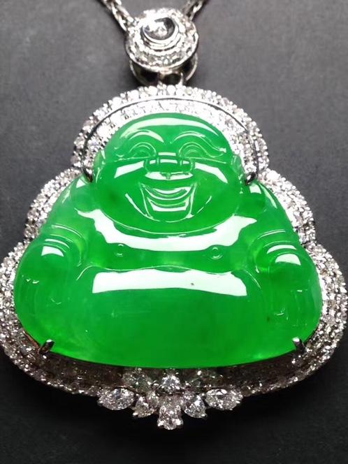 天然翡翠18k白金奢华钻石镶嵌阳绿笑佛吊坠
