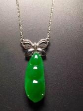 阳绿翡翠福豆锁骨项链