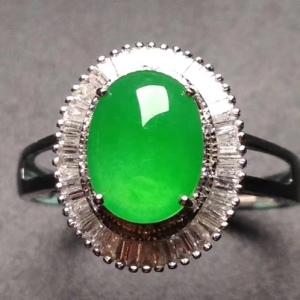 冰阳绿戒指18k白金奢华钻石镶嵌