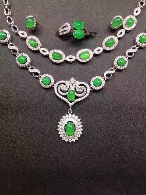 s925银镶蛋面阳绿耳钉+戒指+手链+项链套件