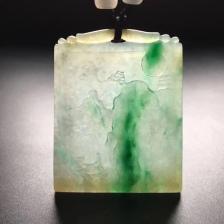 云南翡翠冰种黄加绿挂件