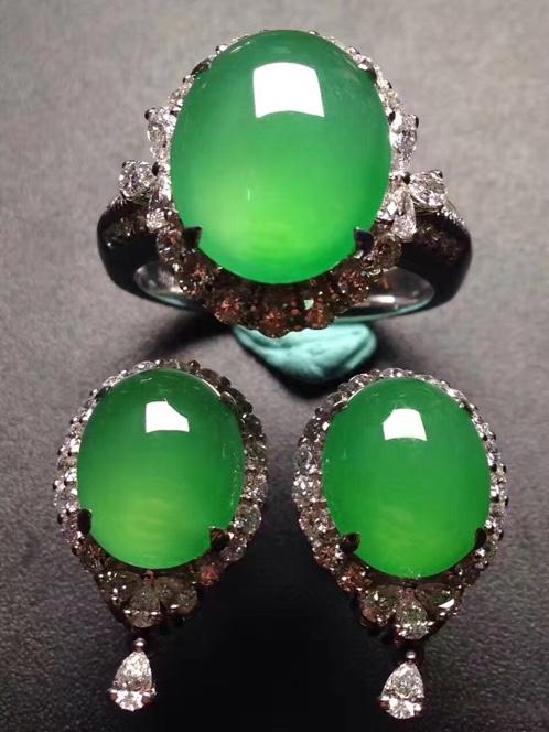 冰阳绿蛋2件套 耳钉+戒指