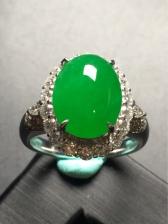 正品天然a货翡翠帝王绿戒指