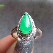 18K金镶嵌满绿水滴冰种翡翠戒指