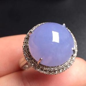 紫罗兰蛋面冰种翡翠戒指
