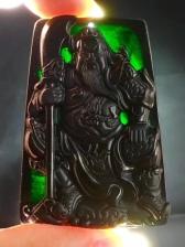 关公帝王绿墨翠吊坠