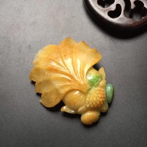 缅甸翡翠黄加绿挂件
