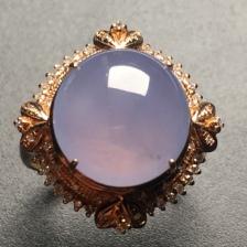冰紫蛋面翡翠戒指