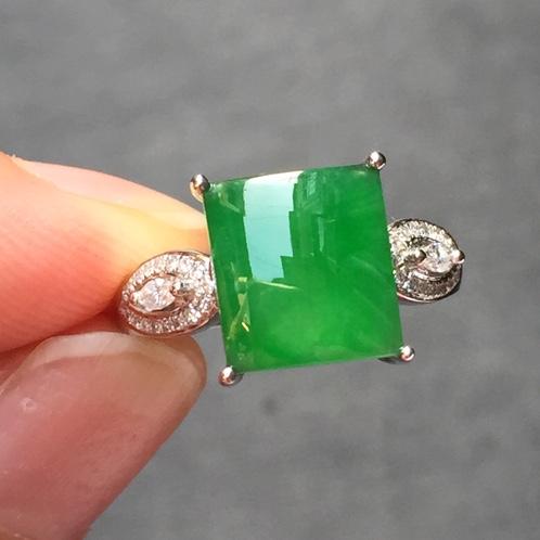 冰种翡翠阳绿方形戒指 18K白金
