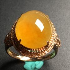 黄翡冰种翡翠蛋面戒指