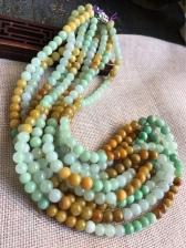 缅甸翡翠老坑三彩项链