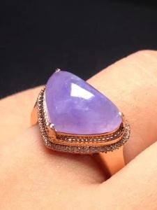 紫罗兰心形冰种翡翠戒指 种好水润