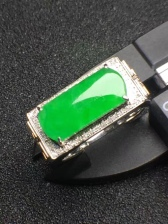 满绿马鞍翡翠戒指