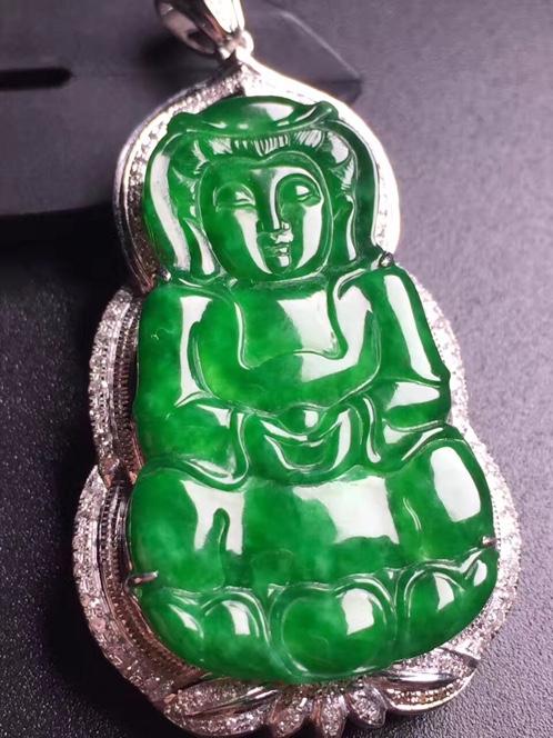 天然翡翠A货冰种真金真钻镶嵌阳绿观音吊坠