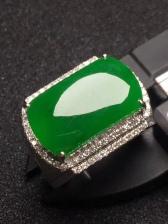 正阳绿马鞍翡翠戒指