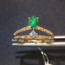 水滴型祖母绿戒指
