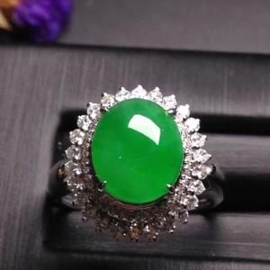 18k白金奢华钻石镶嵌阳绿女戒指