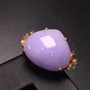 冰种紫罗兰心形翡翠戒指 18K金镶嵌