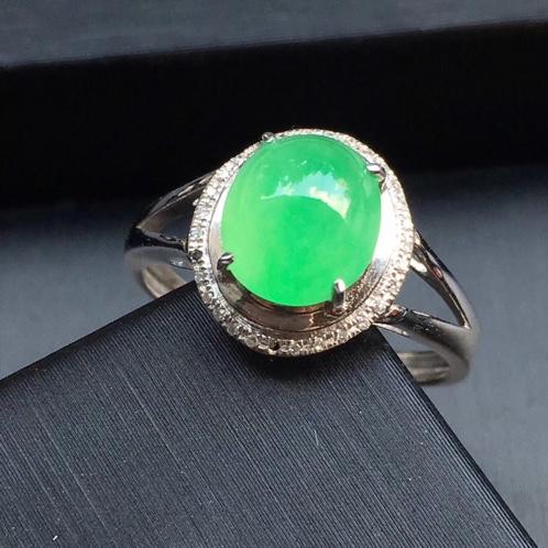 冰种翡翠阳绿戒指 色阳