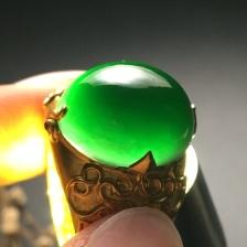 糯种墨翠蛋面翡翠戒指